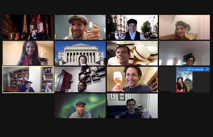 Zoom call in virtual Paris- Woyago Teambuilding - happy company from USA