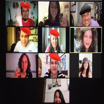 Zoom call in virtual Paris- Woyago Teambuilding - happy company - square version