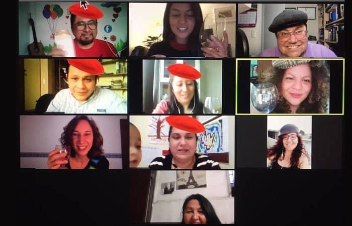 Zoom call in virtual Paris- Woyago Teambuilding - happy company