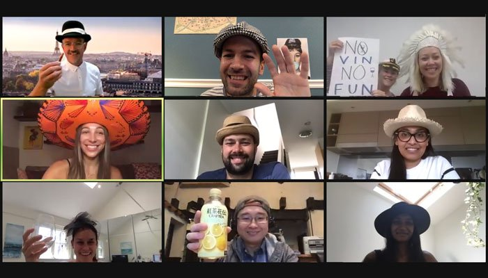 Zoom call in virtual Paris- Woyago Teambuilding - happy company from Australia