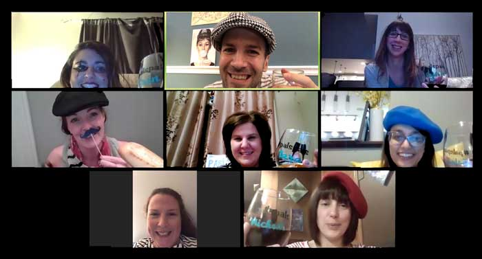 Zoom call in virtual Paris- Woyago Teambuilding - Family friends from USA