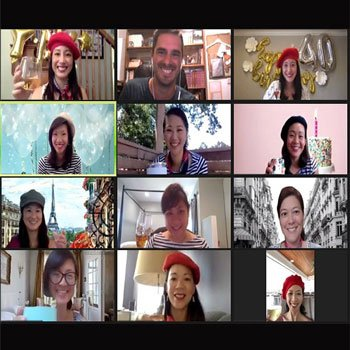Zoom call in virtual Paris- Woyago Teambuilding - beautiful ladies from USA