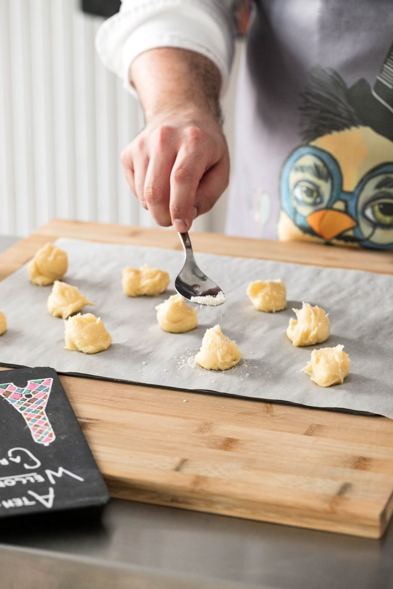 preparation of pastries on a table in front of camera