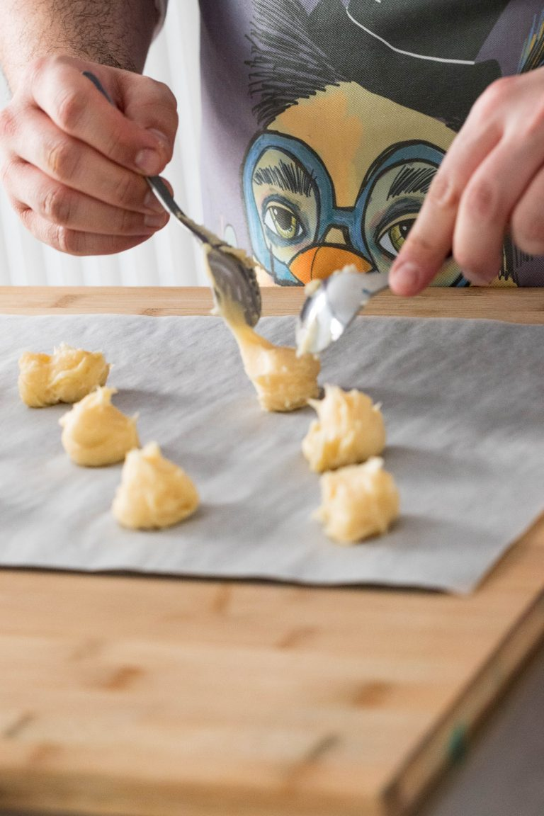 preparation of pastries on a table