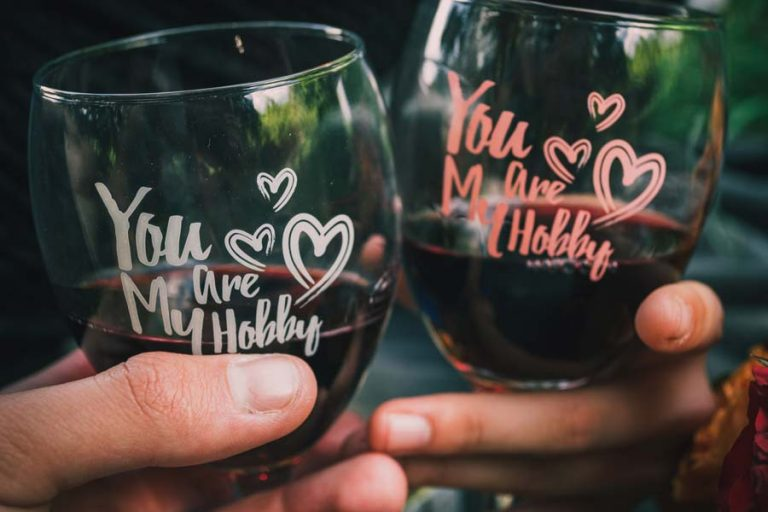 Wine glasses with you are my hobby sign