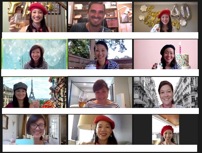 A group of friends virtually celebrating a Paris themed 40th birthday party
