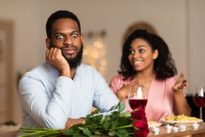 Young black man on an unsuccessful first date