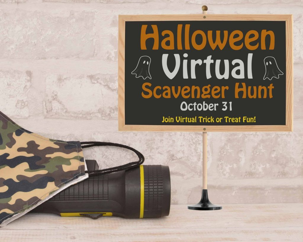A Halloween theme virtual scavenger hunt sign is the perfect indoor scavenger hunt for adults!