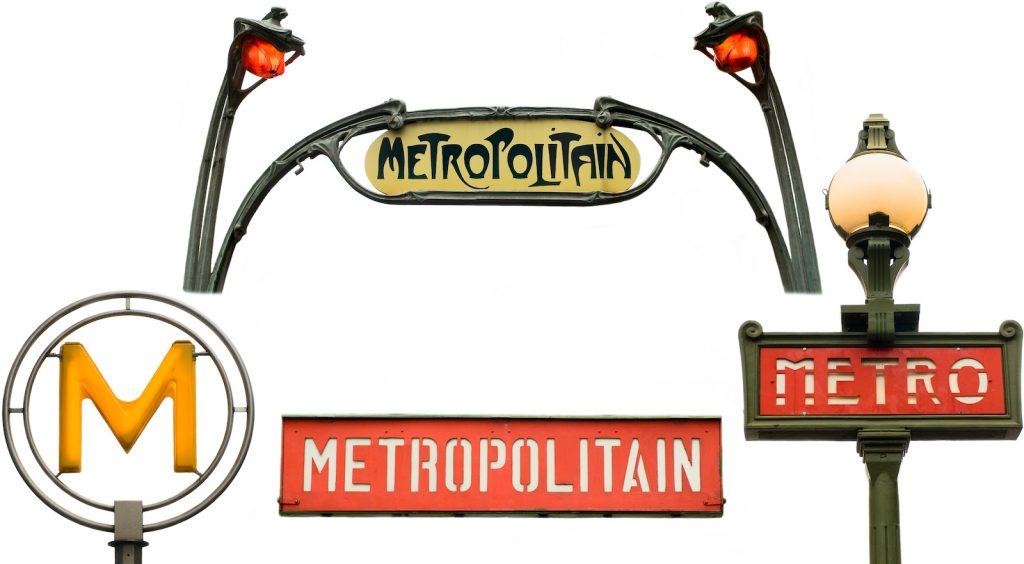 Set of Paris Metro signs on a white background