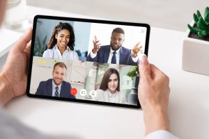 A group of business people on a virtual call
