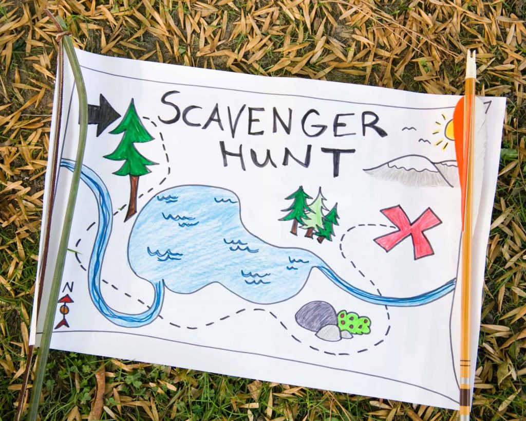Paper sign with hand drawn scavenger hunt map