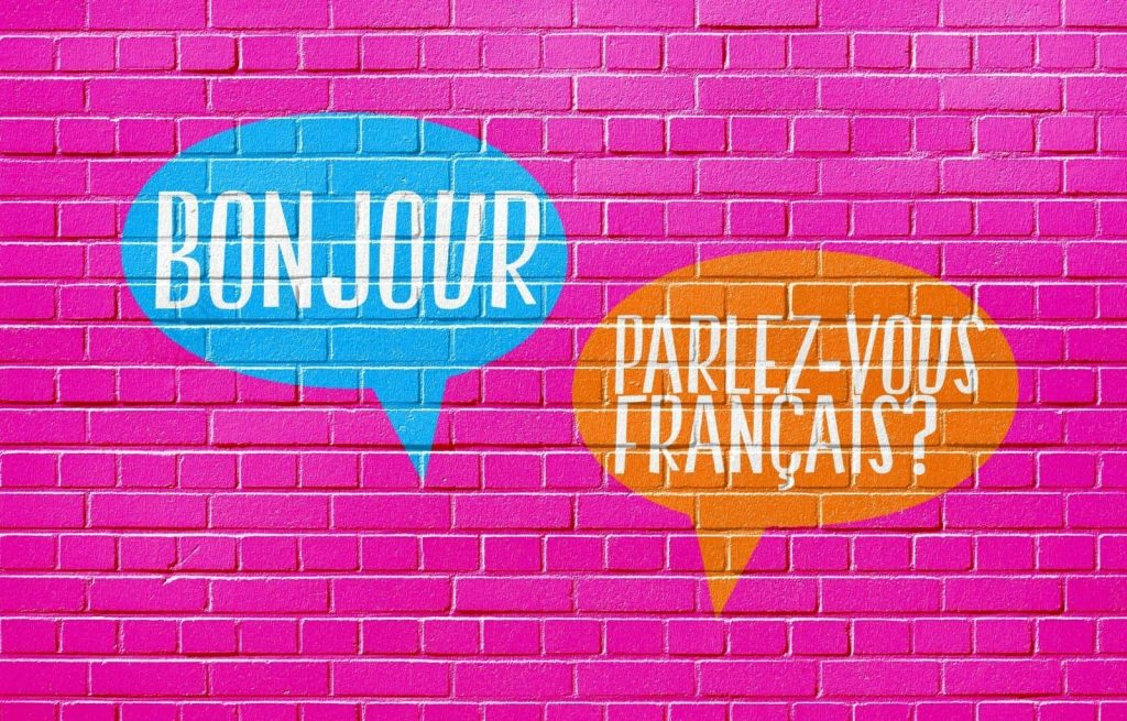 The words Bonjour and Parlez-vous Francais on a hot pink brick wall