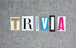 Word Trivia written in cutout letters on a grey background