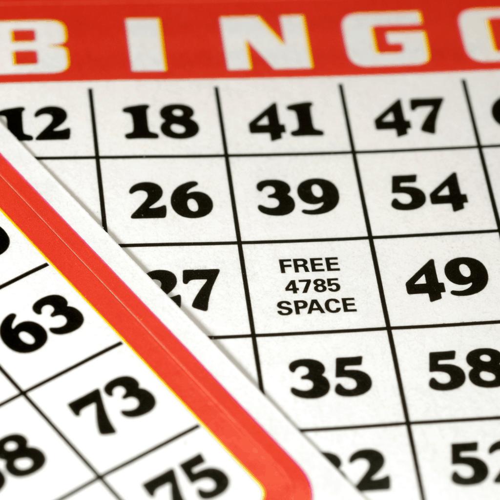 up-close red trimmed bingo card