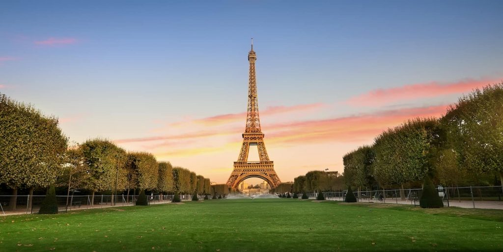 Gardens in front of the Eiffel Tower, one of many must sees Paris attractions
