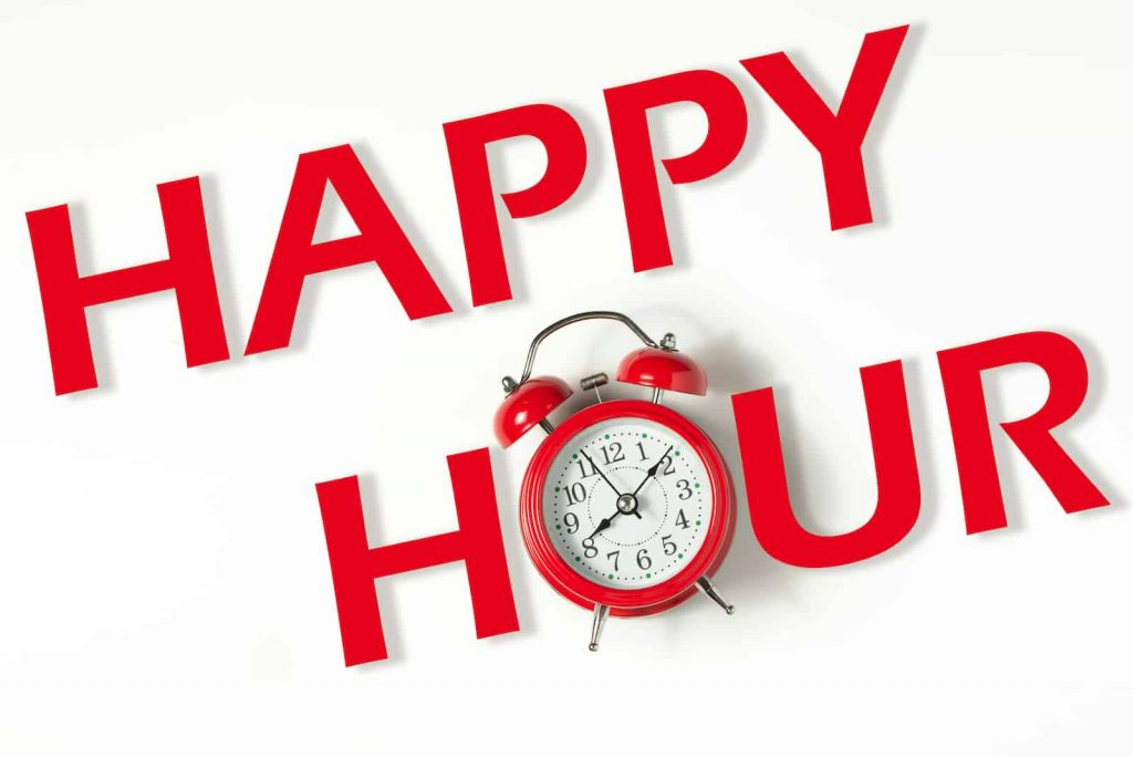 Happy Hour written in red with a classic clock as the letter 'o'