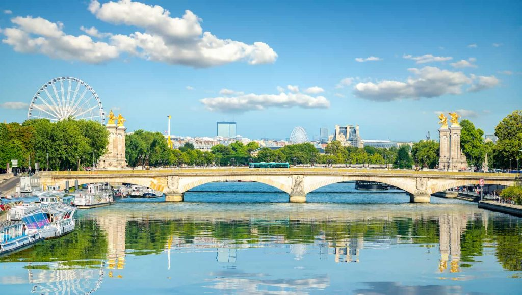 River view of the Pont Alexandre III Bridge in Paris France