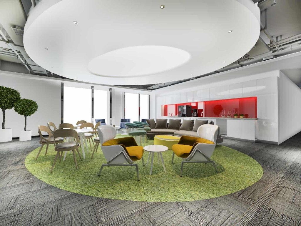 Office kitchen with meeting area